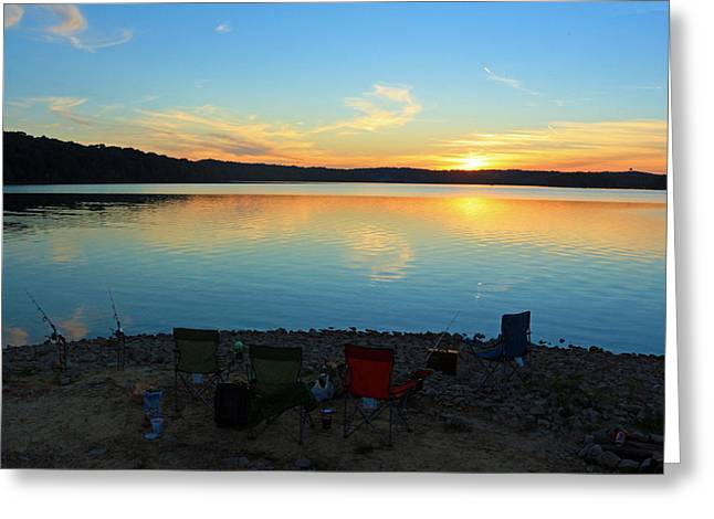 Lawn Chair Digital Greeting Cards - Lake Shore Fishing Greeting Card by Lorna Rogers Photography