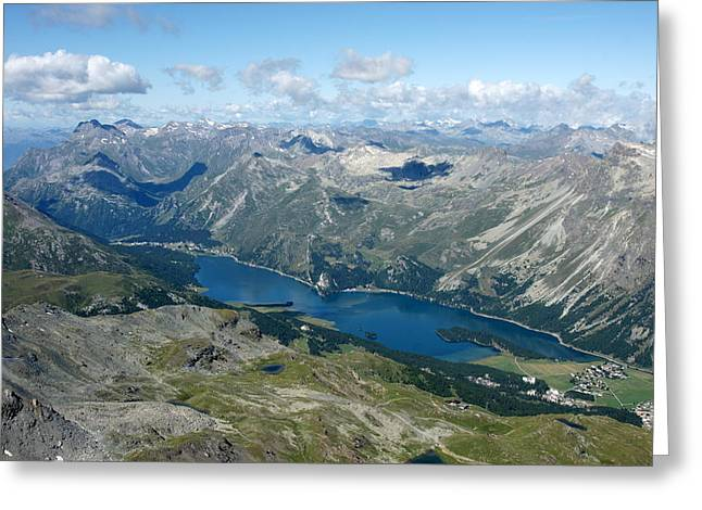 Upper Engadine Valley Greeting Cards - Lake Sils Greeting Card by Christian Zesewitz