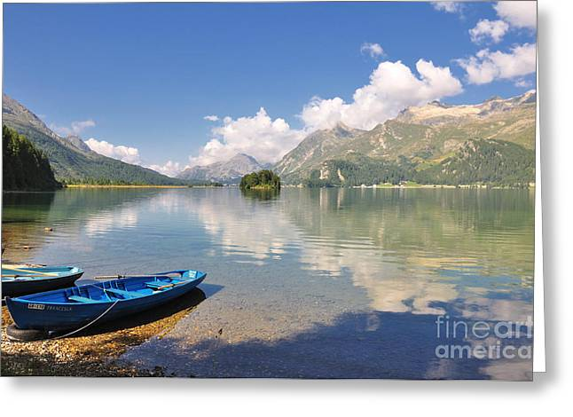 Graubunden Greeting Cards - Lake Sils in Graubunden Swizerland Greeting Card by Hansueli Krapf