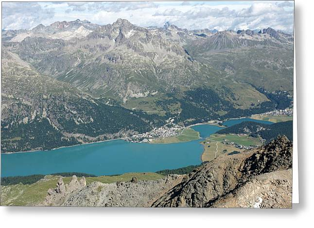 Upper Engadine Valley Greeting Cards - Lake Silvaplana Greeting Card by Christian Zesewitz