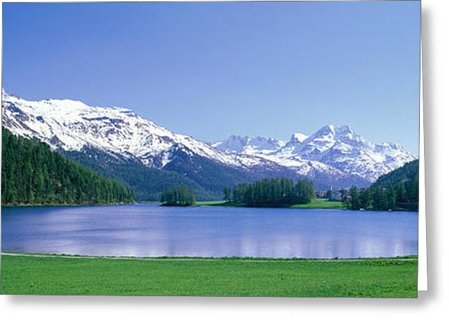 Snow Covered Hill Greeting Cards - Lake Silverplaner St Moritz Switzerland Greeting Card by Panoramic Images