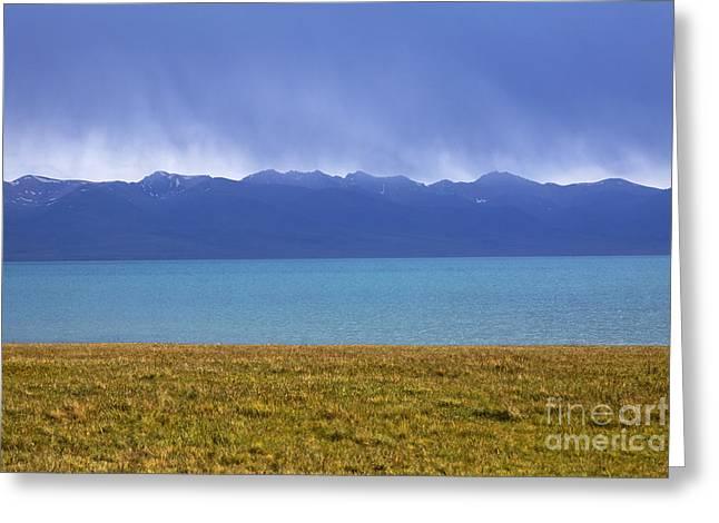 Lake Song Kul In Kyrgyzstan Greeting Card by Robert Preston