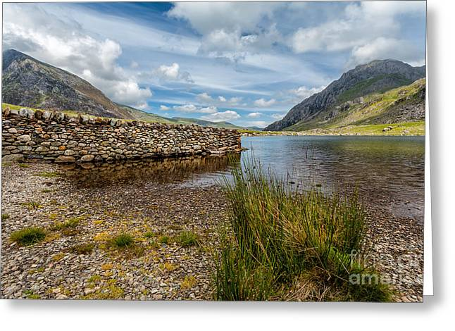Cwm Idwal Greeting Cards - Lake Stone Wall Greeting Card by Adrian Evans