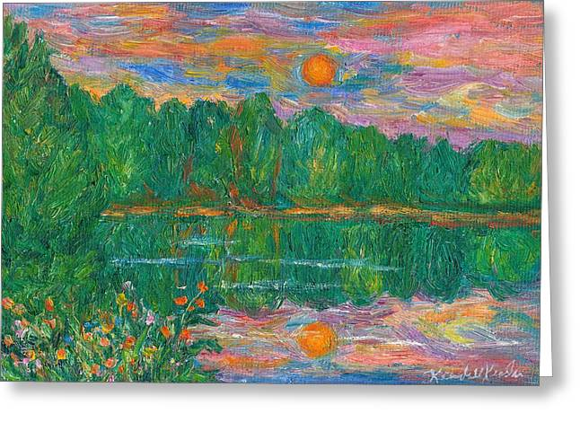 Lake Sunset Greeting Card by Kendall Kessler