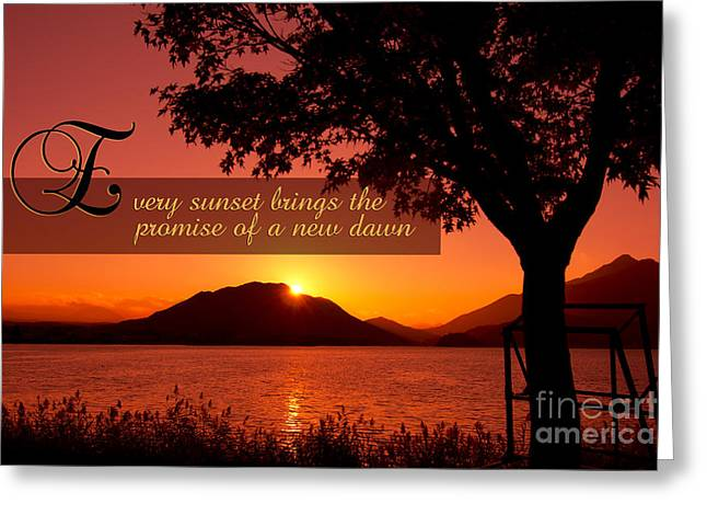 Lake Sunset With Promise Of A New Dawn Greeting Card by Beverly Claire Kaiya
