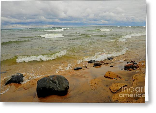 Lakeshore Greeting Cards - Lake Superior Beach Greeting Card by Terri Gostola