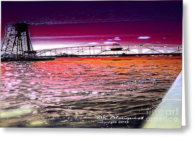 Lake Superior Bridge Greeting Card by Ann Almquist