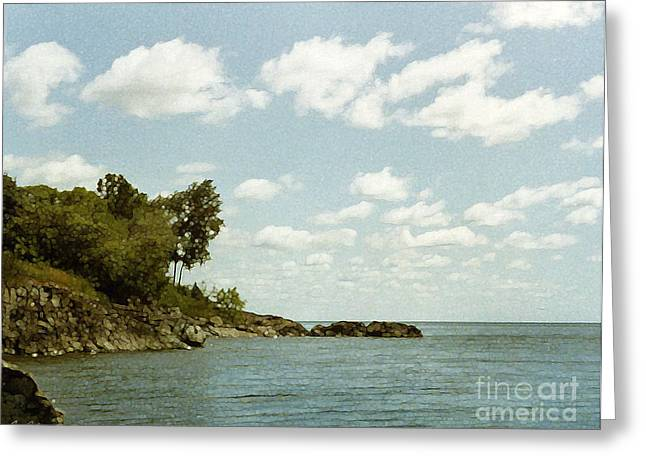 Pen And Ink Drawing Greeting Cards - Lake Superior. London Road. Duluth Minnesota 1970.  Greeting Card by Cathy Peterson