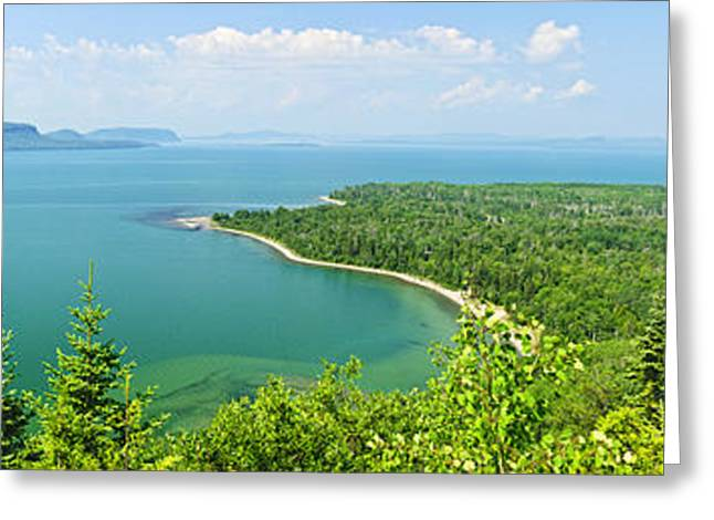 Blue Green Water Greeting Cards - Lake Superior panorama Greeting Card by Elena Elisseeva
