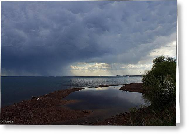 Agate Beach Greeting Cards - Lake Superior Summer Storm Greeting Card by Paul Berish