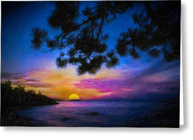 Lake Superior Sunset Painting Photograph By F Leblanc