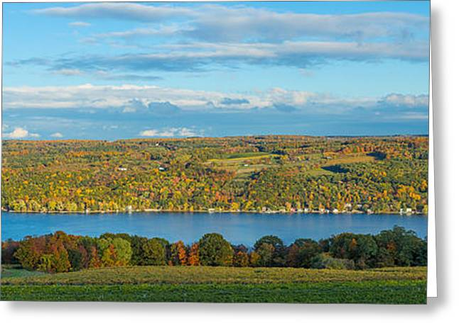 Keuka Greeting Cards - Lake Surrounded By Hills, Keuka Lake Greeting Card by Panoramic Images