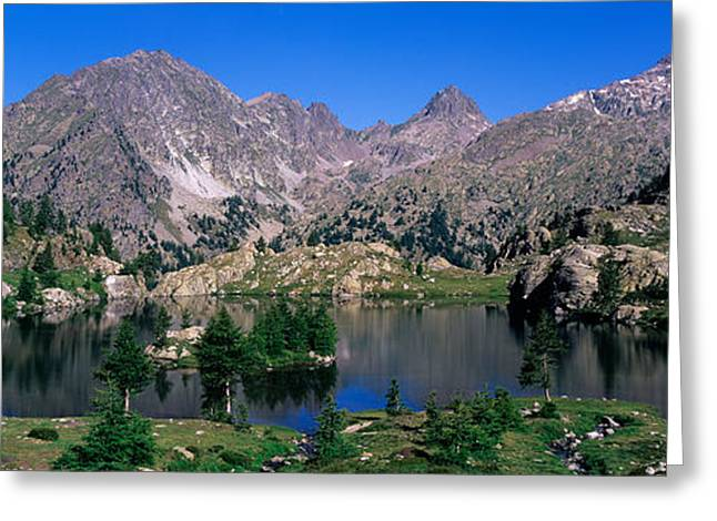European Alps Greeting Cards - Lake Surrounded By Mountains Greeting Card by Panoramic Images
