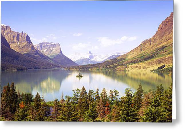 Montana Mountains Greeting Cards - Lake Surrounded By Mountains, St. Mary Greeting Card by Panoramic Images