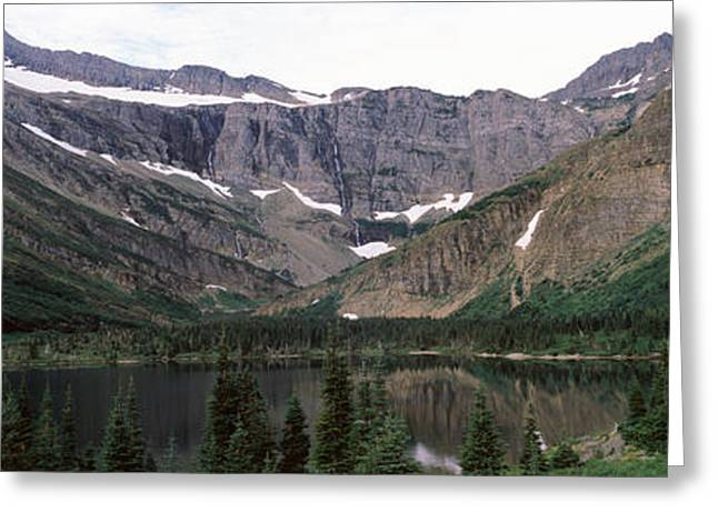 Us Glacier National Park Greeting Cards - Lake Surrounded With Mountains Greeting Card by Panoramic Images