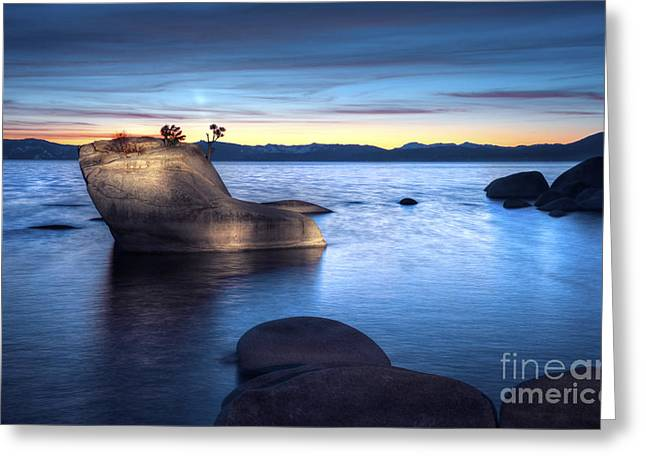 Lake Tahoe Bonsai Rock Greeting Card by Dianne Phelps