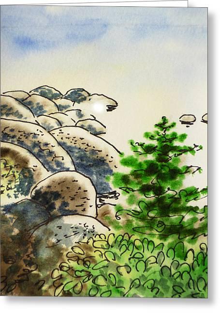Sketchbook Greeting Cards - Lake Tahoe - California Sketchbook Project Greeting Card by Irina Sztukowski