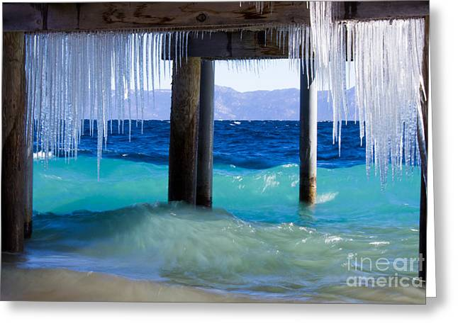 Docked Boat Greeting Cards - Lake Tahoe Icicles Greeting Card by Leslie Wells