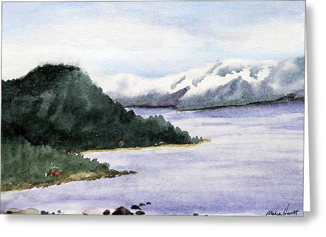 Landscape With Mountains Greeting Cards - Lake Tahoe in Snow Greeting Card by Maria Hunt