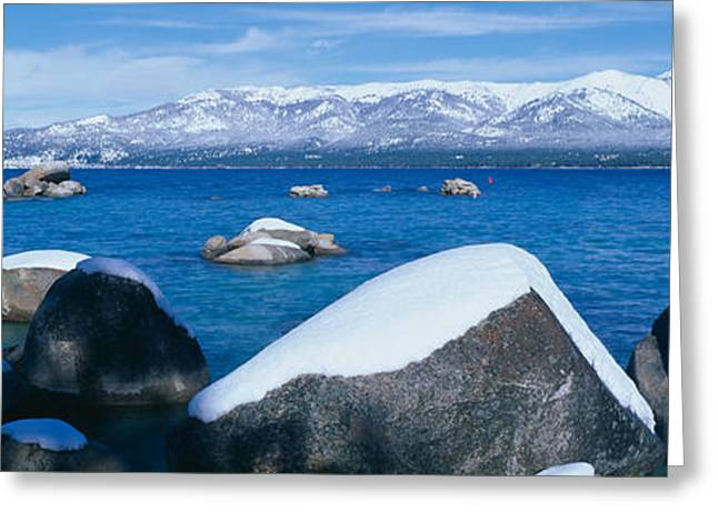 Landforms Greeting Cards - Lake Tahoe In Winter, California Greeting Card by Panoramic Images