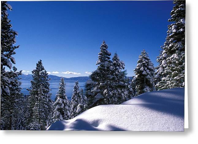 Lake Tahoe in Winter Greeting Card by Kathy Yates
