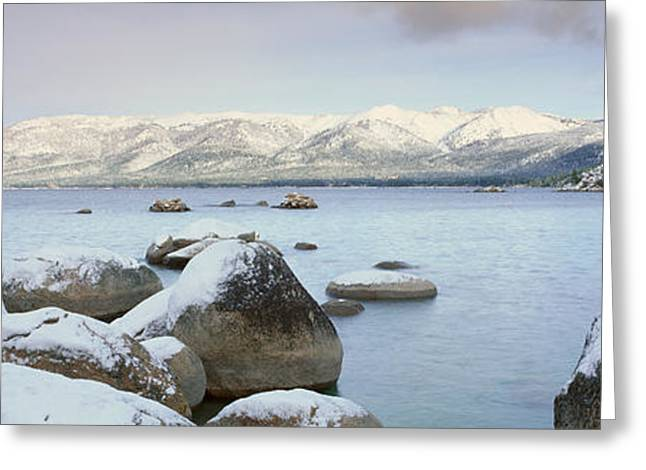 Snow Capped Greeting Cards - Lake Tahoe In Wintertime, Nevada Greeting Card by Panoramic Images