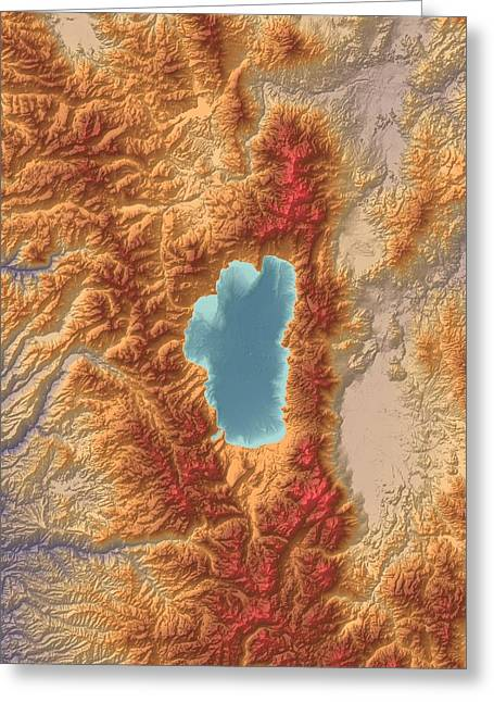 Landform Digital Greeting Cards - Lake Tahoe Map Art Greeting Card by Paul Hein