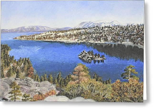 Snowscape Pastels Greeting Cards - Lake Tahoe scene Greeting Card by Pamela Wasserman