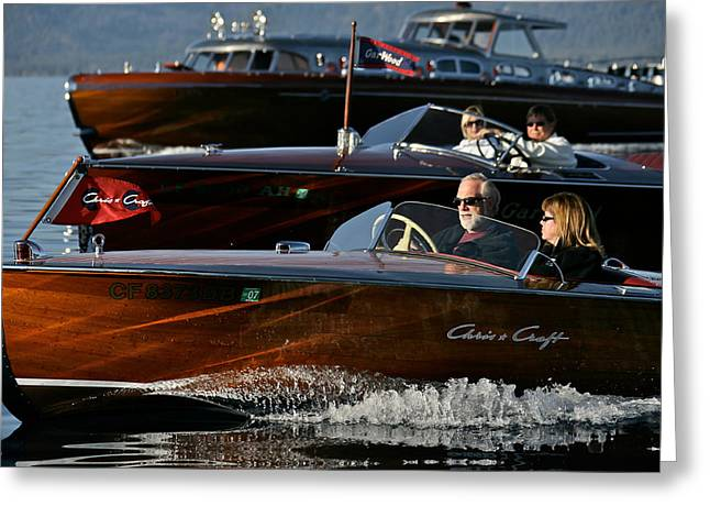 Mahogany Greeting Cards - Lake Tahoe Speedboats Greeting Card by Steven Lapkin