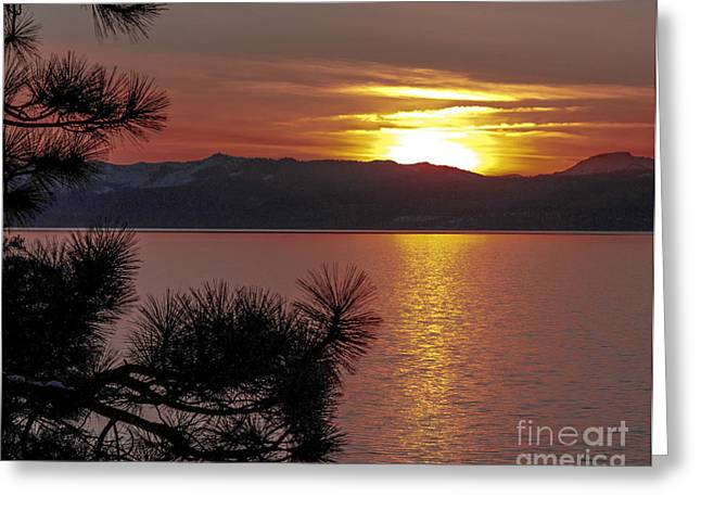 Sunset Greeting Cards Digital Art Greeting Cards - Lake Tahoe Sunset Greeting Card by L J Oakes
