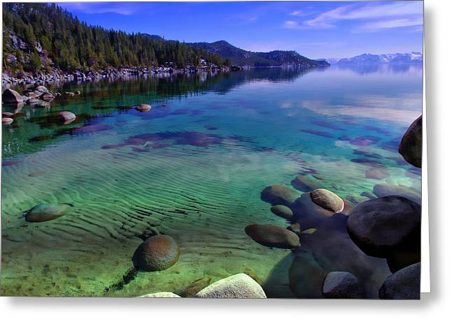 Blue Green Water Greeting Cards - Lake Tahoe Waterscape Greeting Card by Scott McGuire