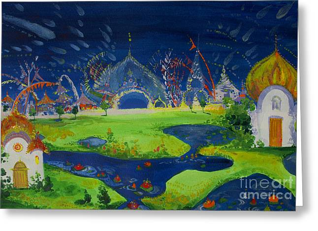 Festivities Paintings Greeting Cards - Lake Temples Greeting Card by Lara Larson
