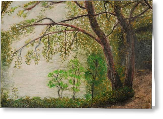 Water Garden Pastels Greeting Cards - Lake Trail Greeting Card by Andrew Pierce