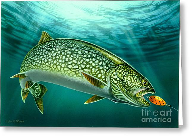 Lakers Paintings Greeting Cards - Lake Trout and Spoon Greeting Card by Jon Q Wright