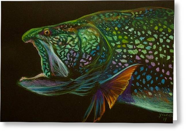 Canada Pastels Greeting Cards - Lake trout portrait Greeting Card by Yusniel Santos