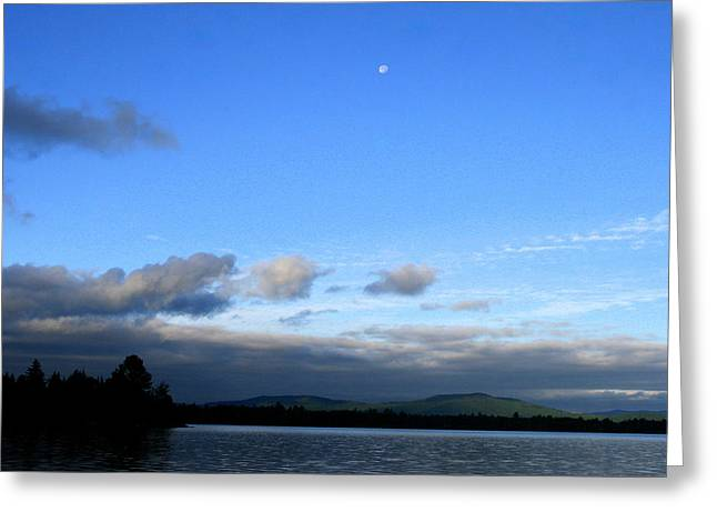 Landscape Photograph Greeting Cards - Lake Umbagog Mountain Moon  Greeting Card by Neal  Eslinger