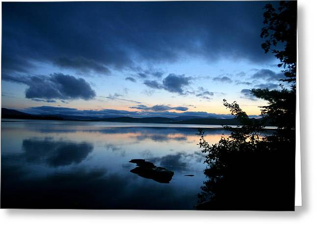 Landscape Framed Prints Greeting Cards - Lake Umbagog Sunset Blues  Greeting Card by Neal  Eslinger
