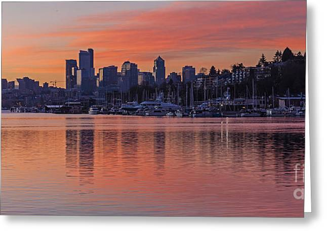 Lake Union Dawn Greeting Card by Mike Reid