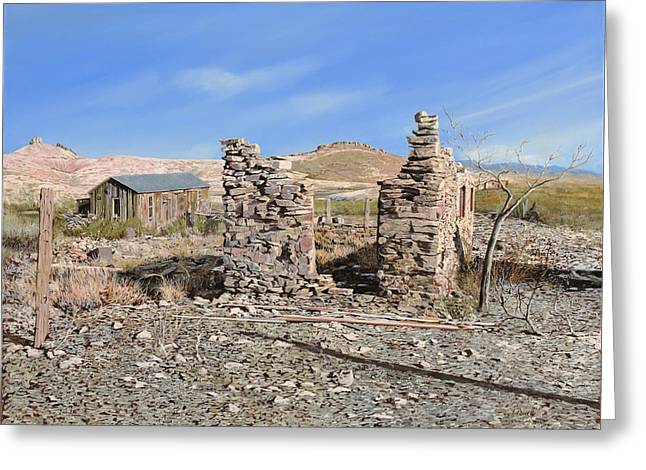 Ruins Paintings Greeting Cards - Lake Valley-New Mexico  Greeting Card by Guido Borelli