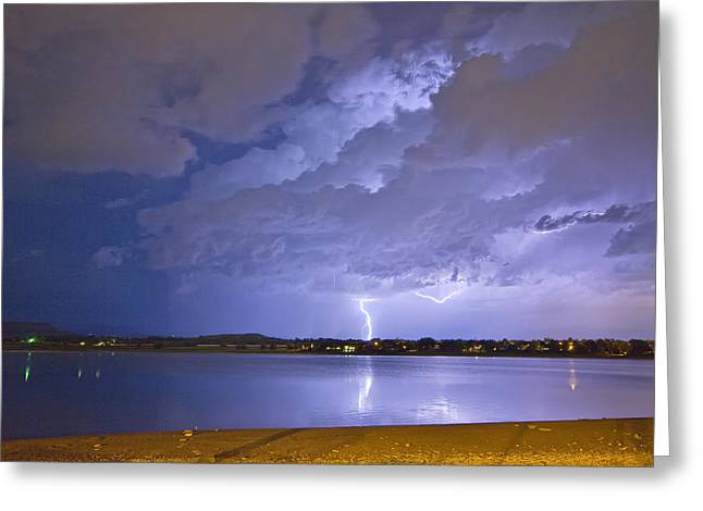Storm Prints Photographs Greeting Cards - Lake View Lightning Thunderstorm Greeting Card by James BO  Insogna