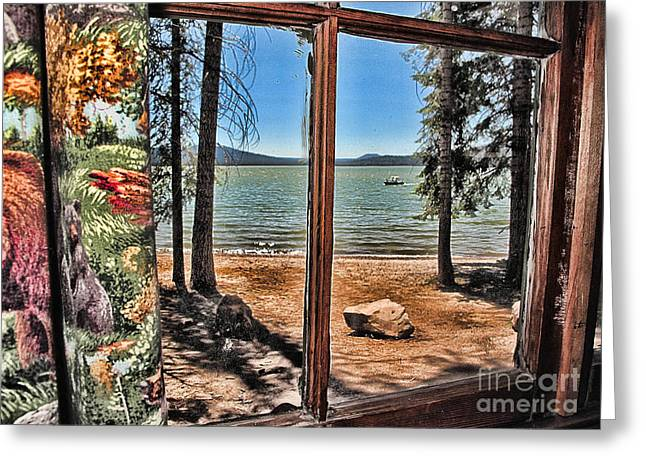 Hunting Cabin Digital Art Greeting Cards - Lake View Greeting Card by Roger Gelvick