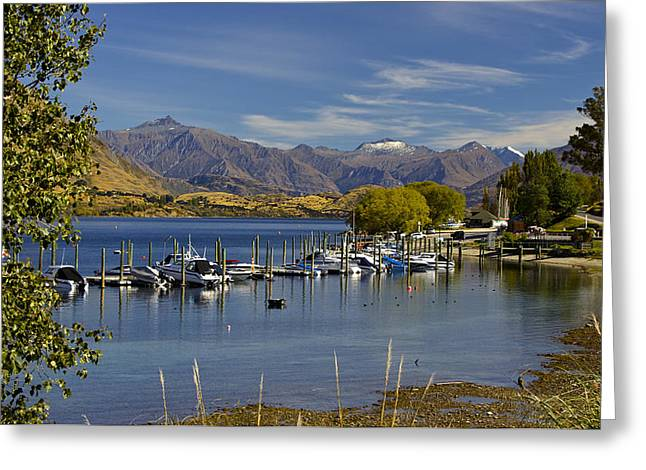Snow Capped Greeting Cards - Beautiful Lake Wanaka New Zealand Greeting Card by Venetia Featherstone-Witty