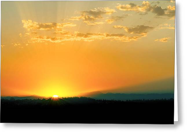 Kirkland Greeting Cards - Lake Washington Sunset Greeting Card by Ryan Manuel