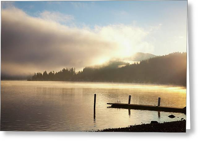 Lake Whatcom At Sunrise  Bellingham Greeting Card by Blake Kent