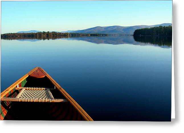 Canoe Photographs Greeting Cards - Lake Winnepasaukee Canoe Greeting Card by Skip Willits