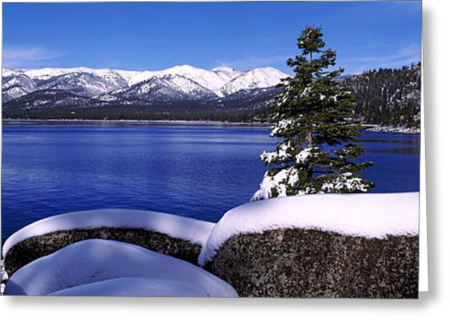 Lake With A Snowcapped Mountain Range Greeting Card by Panoramic Images