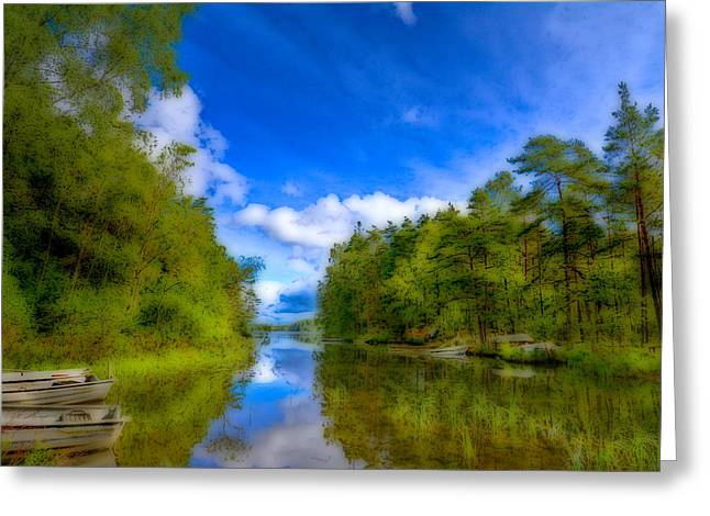 Jogging Greeting Cards - Lake with beautiful surroundings Greeting Card by Toppart Sweden