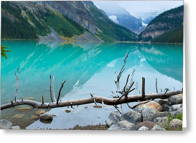 Canadian Rockies Greeting Cards - Lake With Canadian Rockies Greeting Card by Panoramic Images