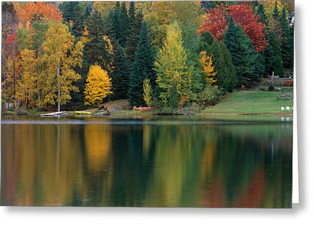 Overcast Day Greeting Cards - Lake With House, Canada Greeting Card by Panoramic Images