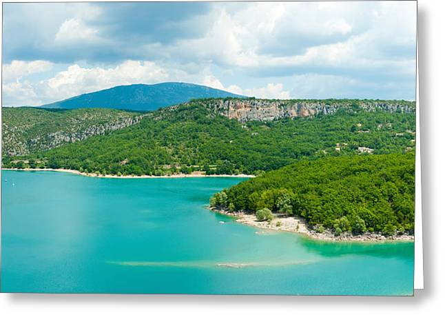 Croix Greeting Cards - Lake With Mountain In The Background Greeting Card by Panoramic Images